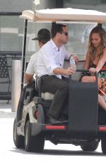 CHRISSY TEIGEN on the Set of Extra in universal City