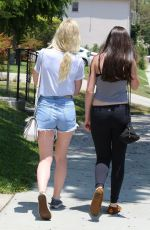 ELLE FANNING in Daisy Dukes Out and About in Studio City