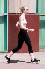 ELLE FANNING in Tights Leaves a Gym in Studio City