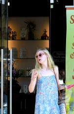 ELLE FANNING Leaves a Nail Salon in Studio City