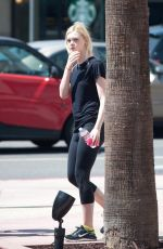 ELLE FANNING Leaving a Gym in Los Angeles