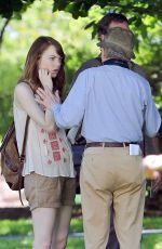 EMMA STONE at a Movie Set in Newport