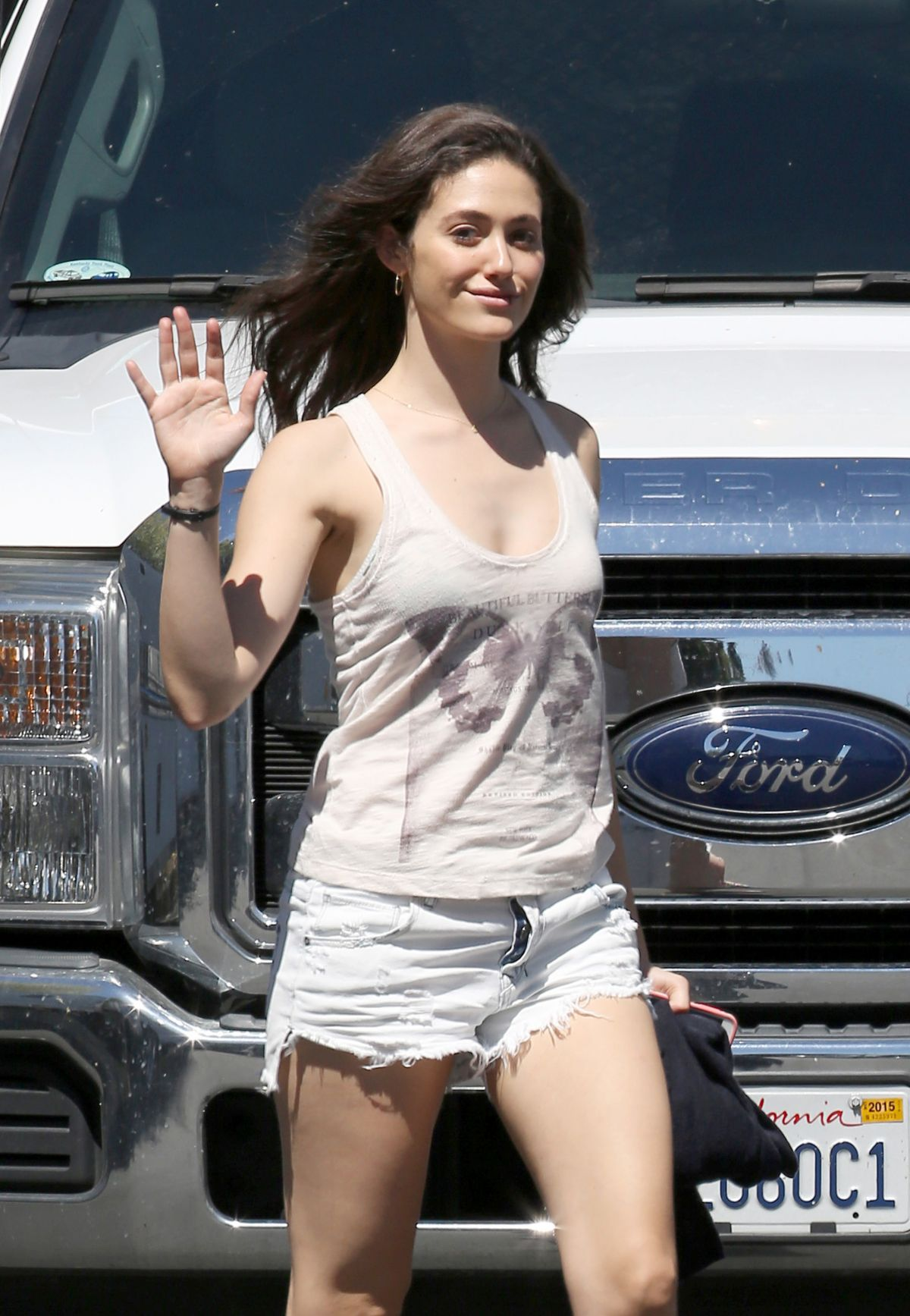EMMY ROSSUM on the Set of  Shameless in Pasadena