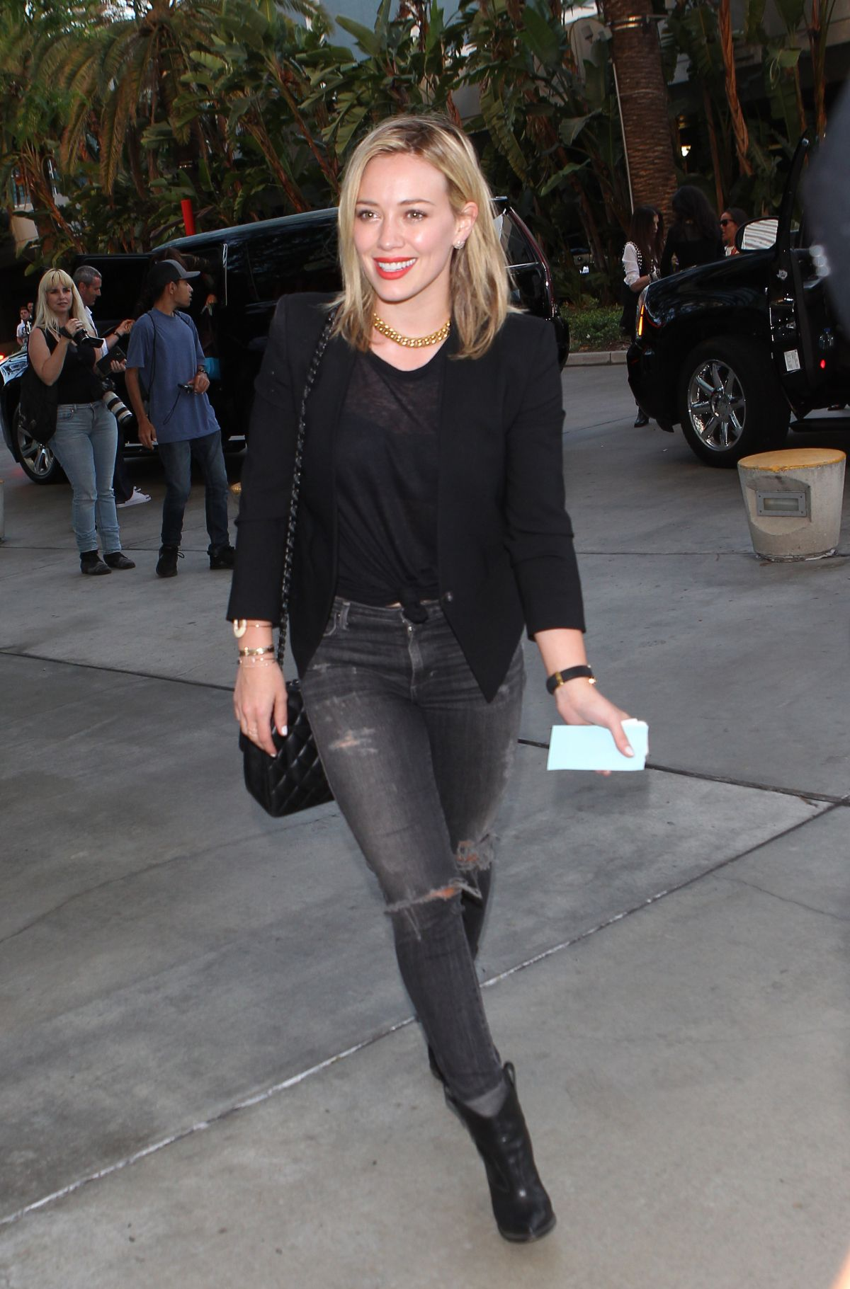 HILARY DUFF Arrives at Staples Center in Los Angeles