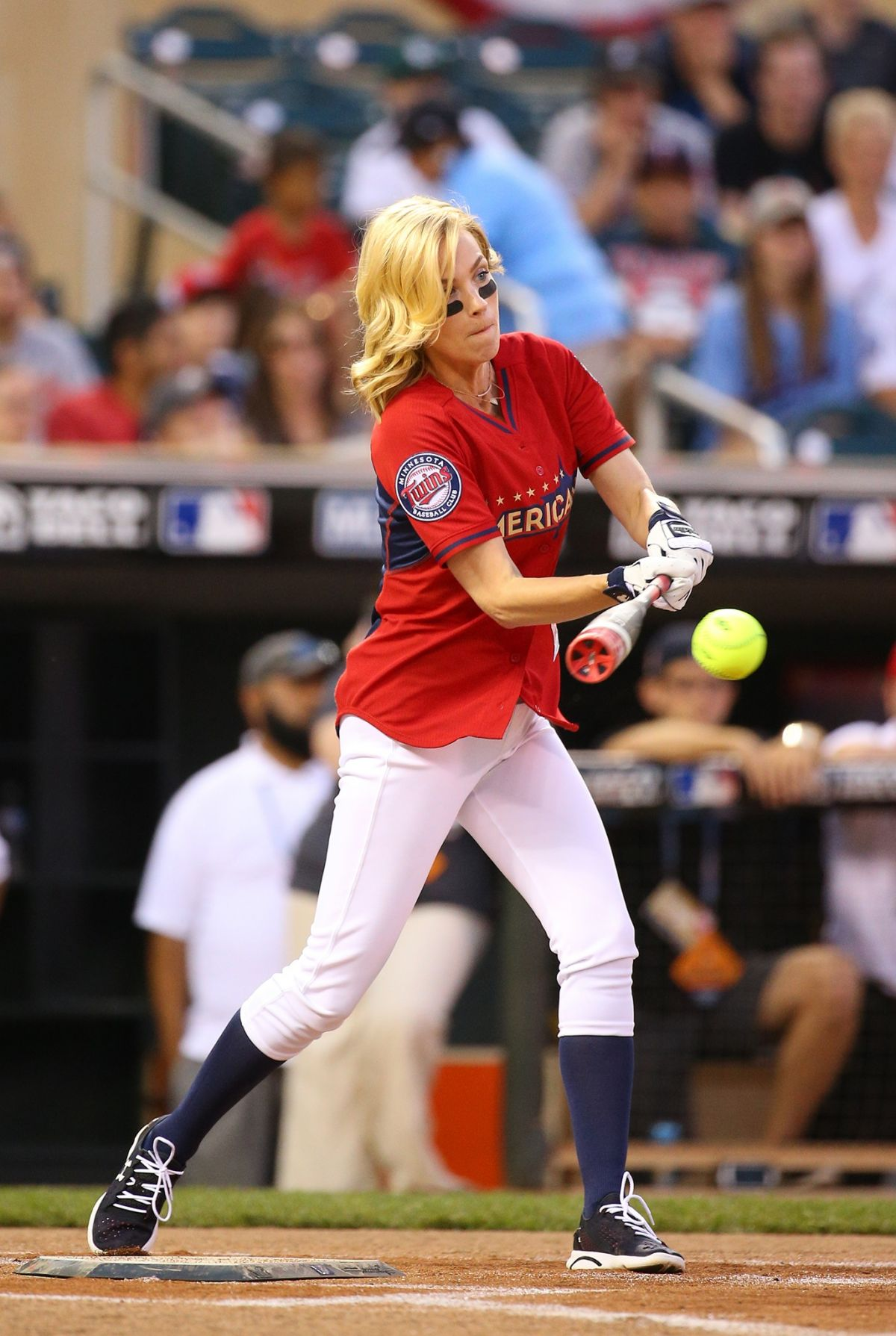JANUARY JONES at All-star Legends and Celebrity Softball Game