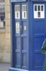 JENNA-LOUISE COLEMAN on the Set of Doctor Who in Wales