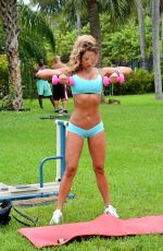 JENNIFER NICOLE LEE Working Out at a Park in Miami
