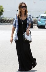 JESSICA ALBA in Long Black Dress Out in Los Angeles