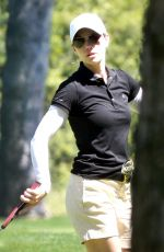 JESSICA BIEL Playing Golf at Lakeside Golf Club in Toluca Lake