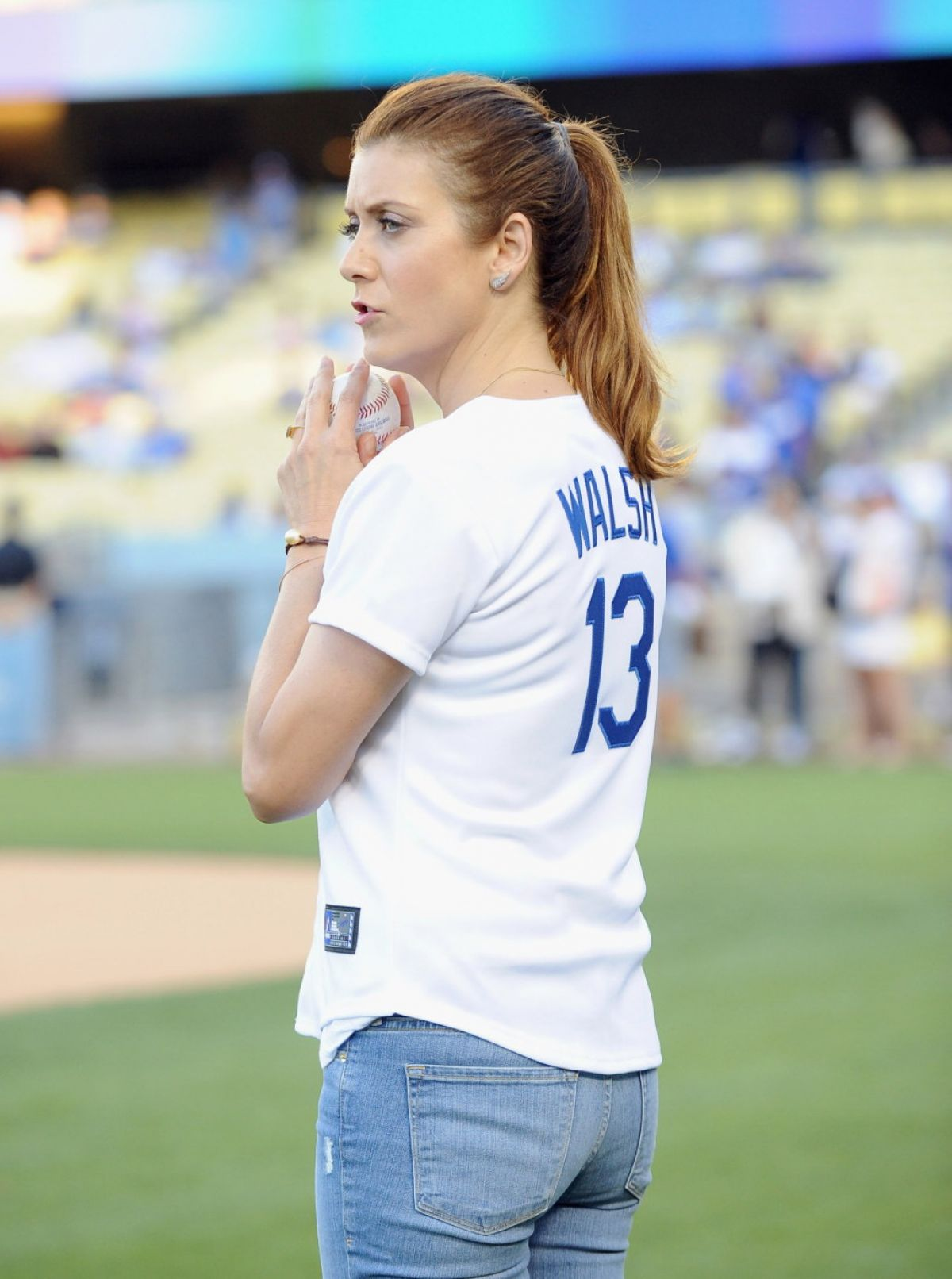 KATE WALSH Throwing out the First Pitch at the Dodgers Game