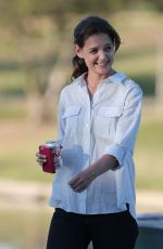 KATIE HOLMES on the Set of Woman in Gold in Los Angeles