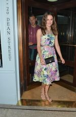 KEIRA KNIGHTLEY Leaves Quo Vadis Restaurant in London