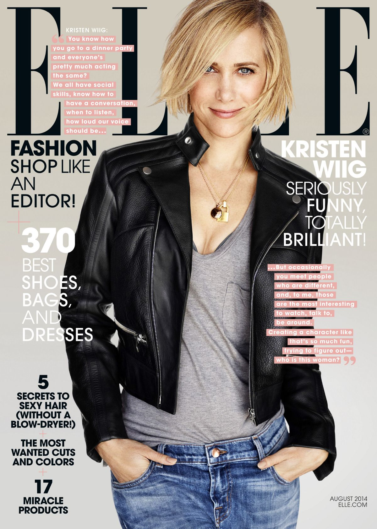 KRITEN WIIG on the Cover of Elle Magazine, August 2014 Issue