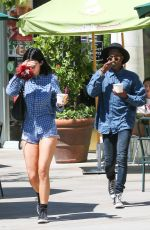 KYLIE JENNER in Denim Shorts Out in Calabasas