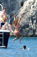 LEA MICHELE in Bikini at a Boat in Italy