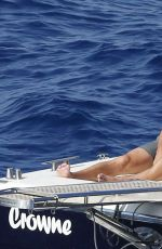 LEA MICHELE in Bikini on a Boat in Italy