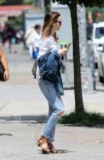 LEIGHTON MEESTER in Ripped Jeans Out in New York