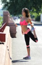 LEILANI DOWDING in Tights Working Out at Battersea Park in London