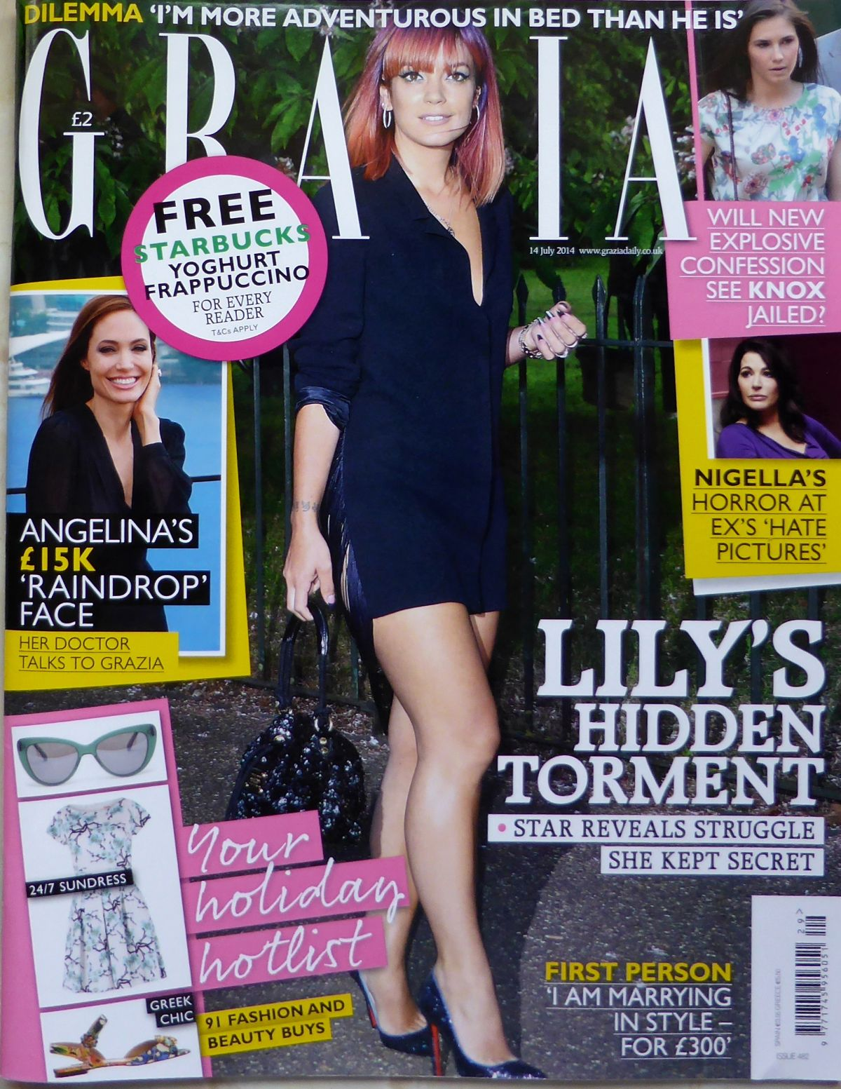 LILY ALLEN on the Cover of Grazia Magazine, July 2014 Issue