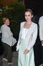 LILY COLLINS Arrives at Chiltern Firehouse in London