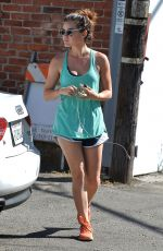 LUCY HALE in Shorts Leaves a Gym in Beverly Hills