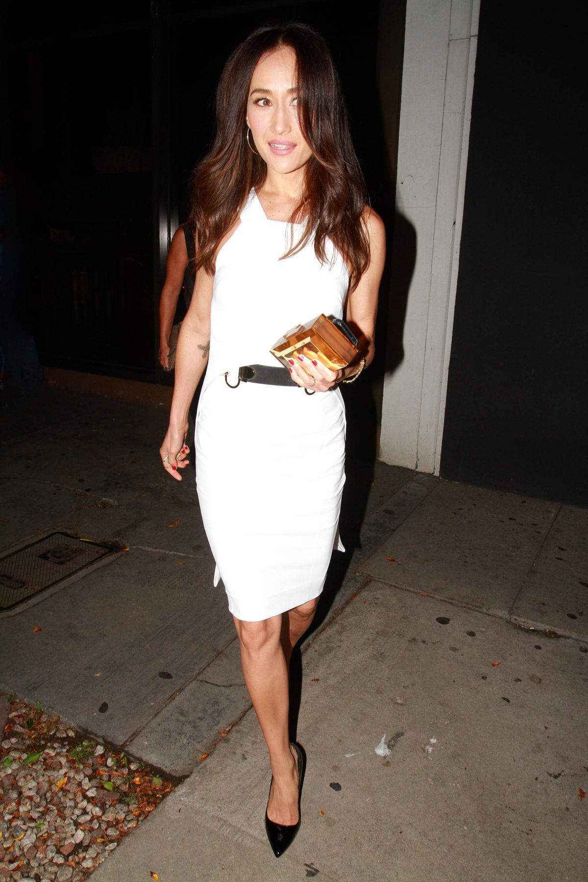 MAGGIE Q Leaves Madeo Restaurant in Los Angeles