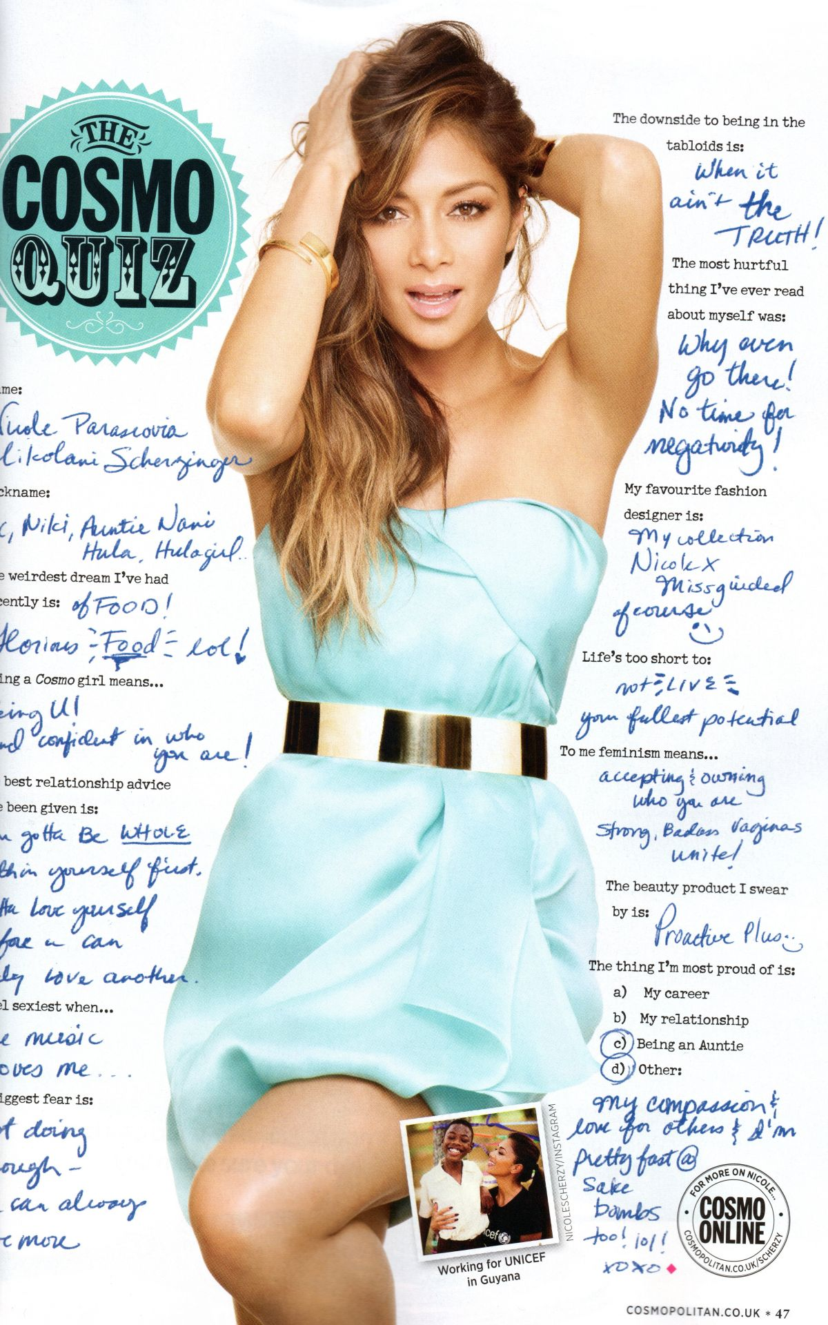 NICOLE SCHERZINGER in Cosmopolitan Magazine, August 2014 Issue