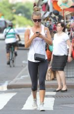 NINA AGDAL in Leggings Out in New York