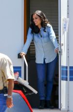 OLIVIA MUNN on the Set of The Newsroom in Los Angeles