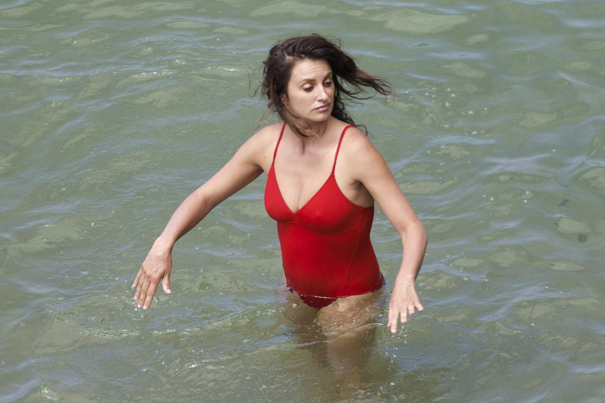 PENELOPE CRUZ in Swimsuit at a Beach in Spain