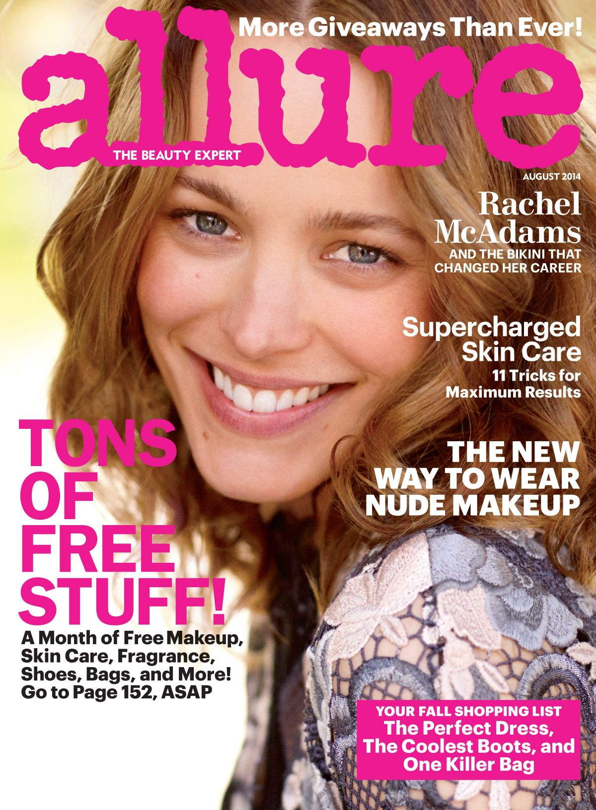 RACHEL MCADAMS on the COver of Allure Magazine, August 2014 Issue