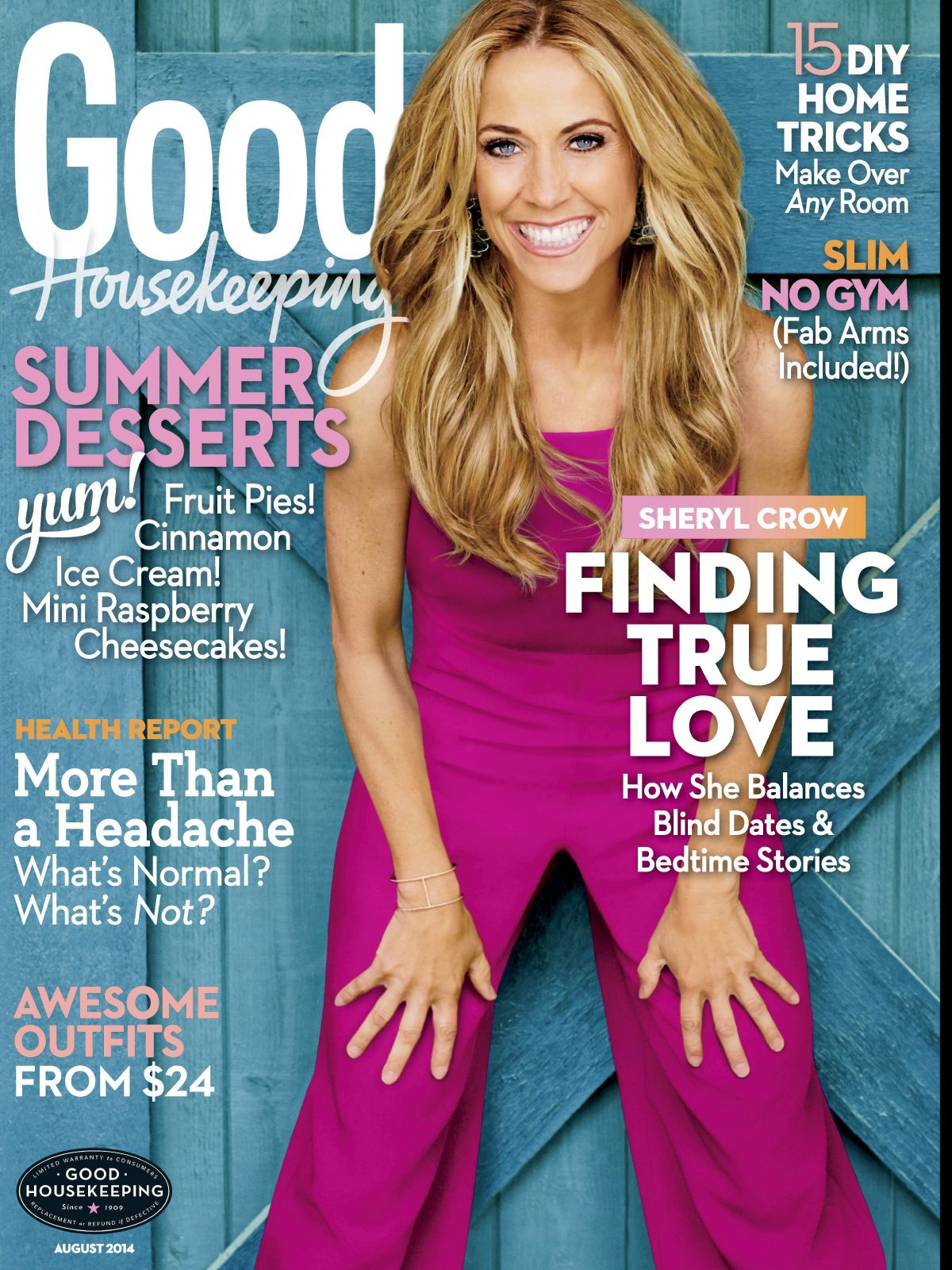 SHERYL CROW on the Cover of Good Housekeeping Magazine, August 2014 Issue