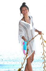 ZENDAYA COLEMAN in Covered Bikini on the Beach in Malibu