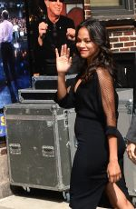 ZOE SALDANA Arrives at The Late Show with David Letterman