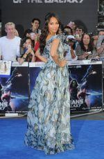 ZOE SALDANA at Guardians of the Galaxy Premiere in London