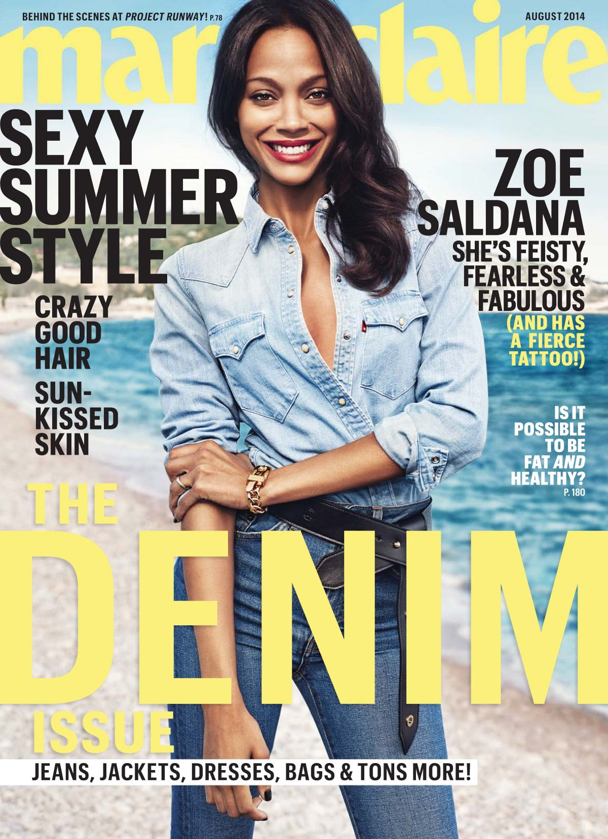 ZOE SALDANA in Marie Claire Magazine, August 2014 Issue