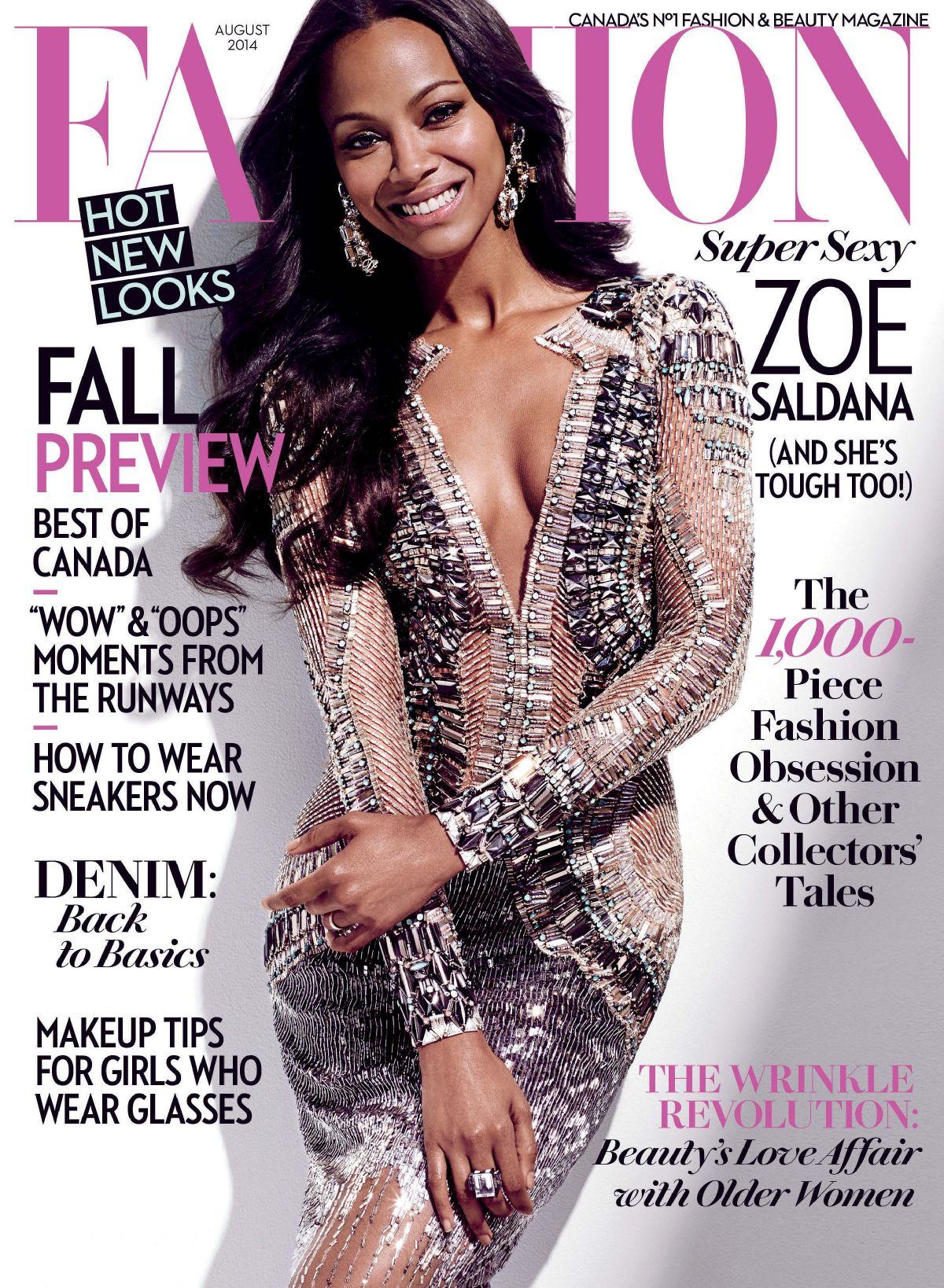 ZOE SALDANA on the Cover of Fashion Magazine, August 2014 Issue