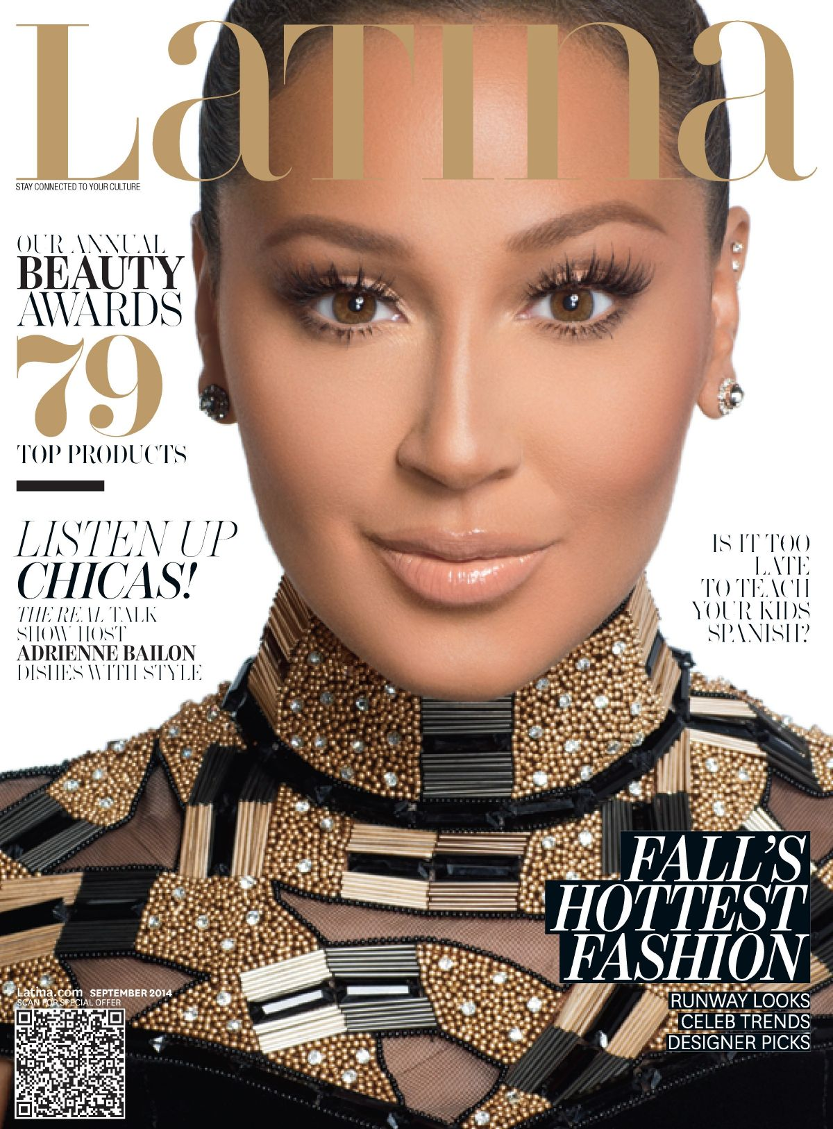 ADRIENNE BAILON on the Cover of Latina Magazine, September 2014 Issue