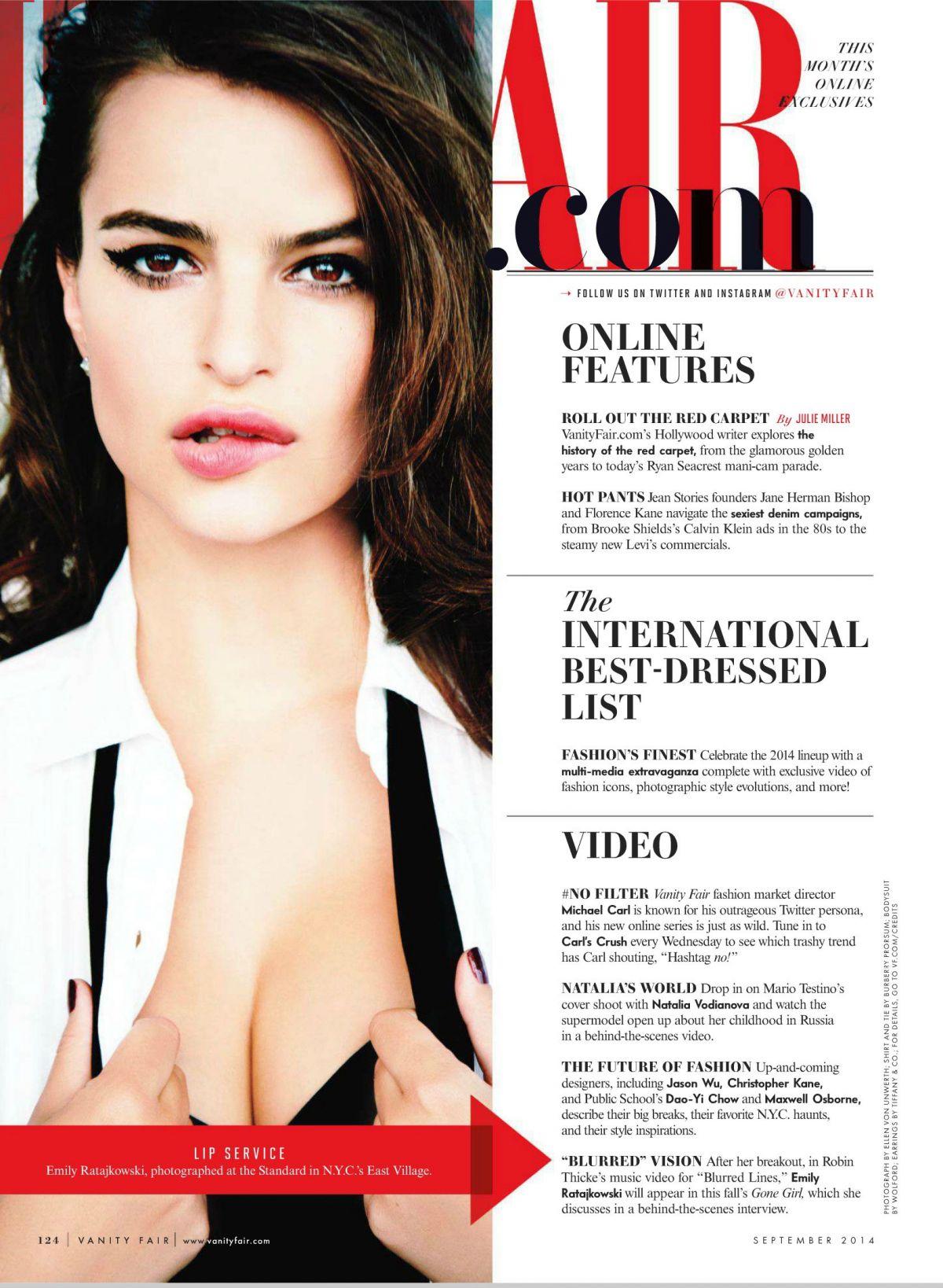 EMILY RATAJKOWSKI in Vanity Fair Magazine, September 2014 ...
