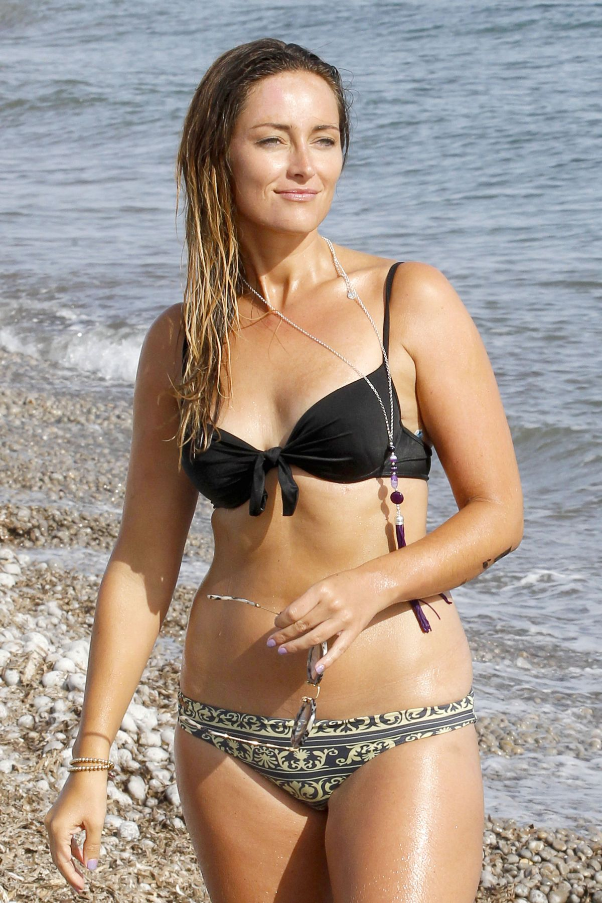 FRAN NEWMAN-YOUNG in Bikini at a Beach in Ibiza