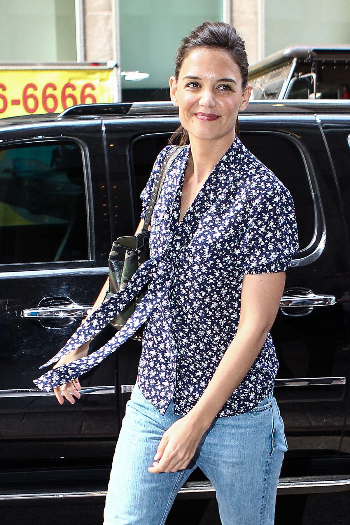 KATIE HOLMES Arrives at SiriusXM Studios in New York