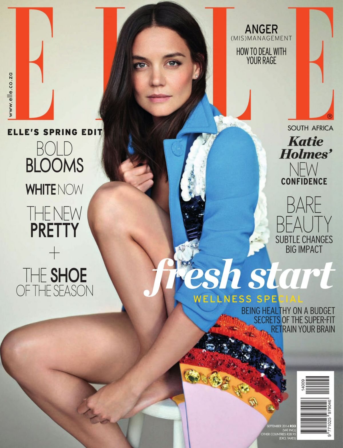 KATIE HOLMES in Elle Magazine, South Africa September 2014 Issue