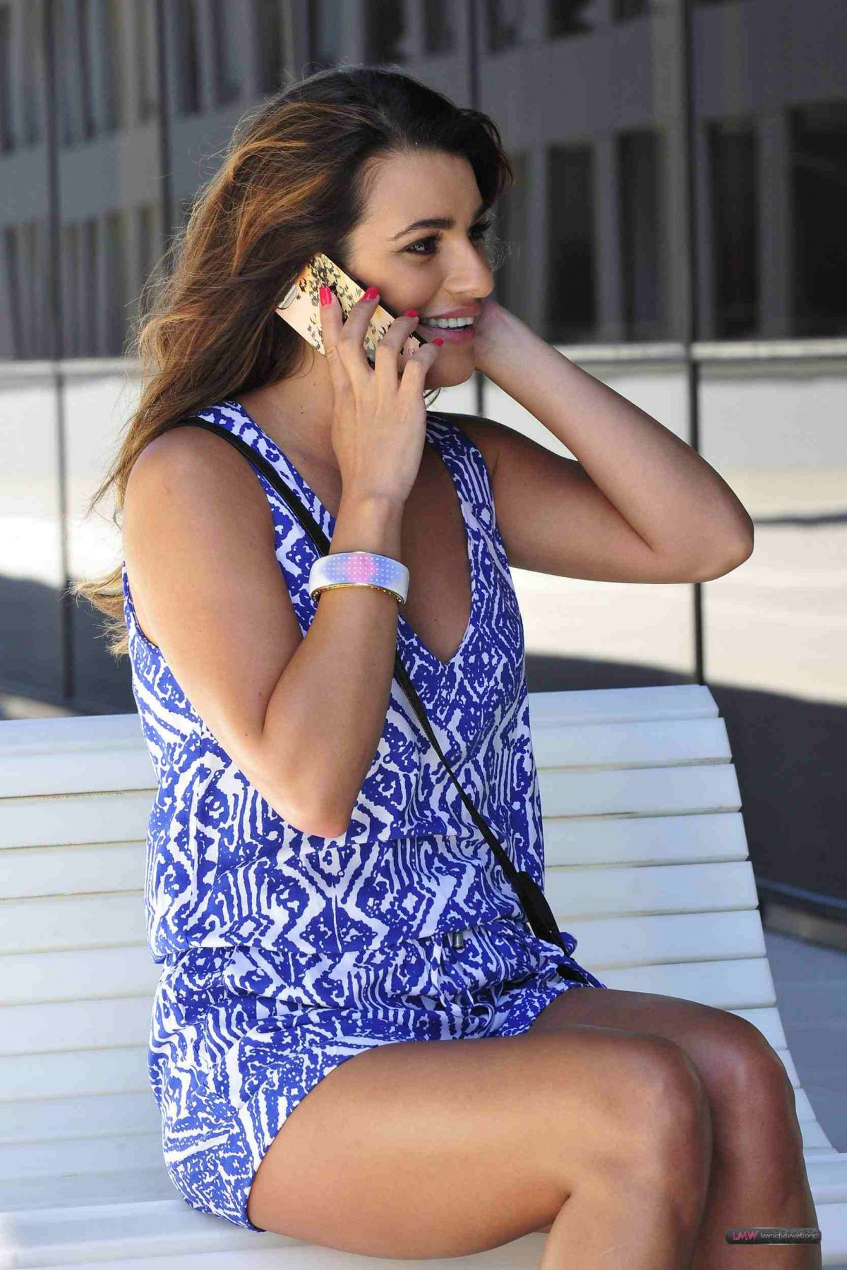 LEA MICHELE on Phone Out in Beverly Hills