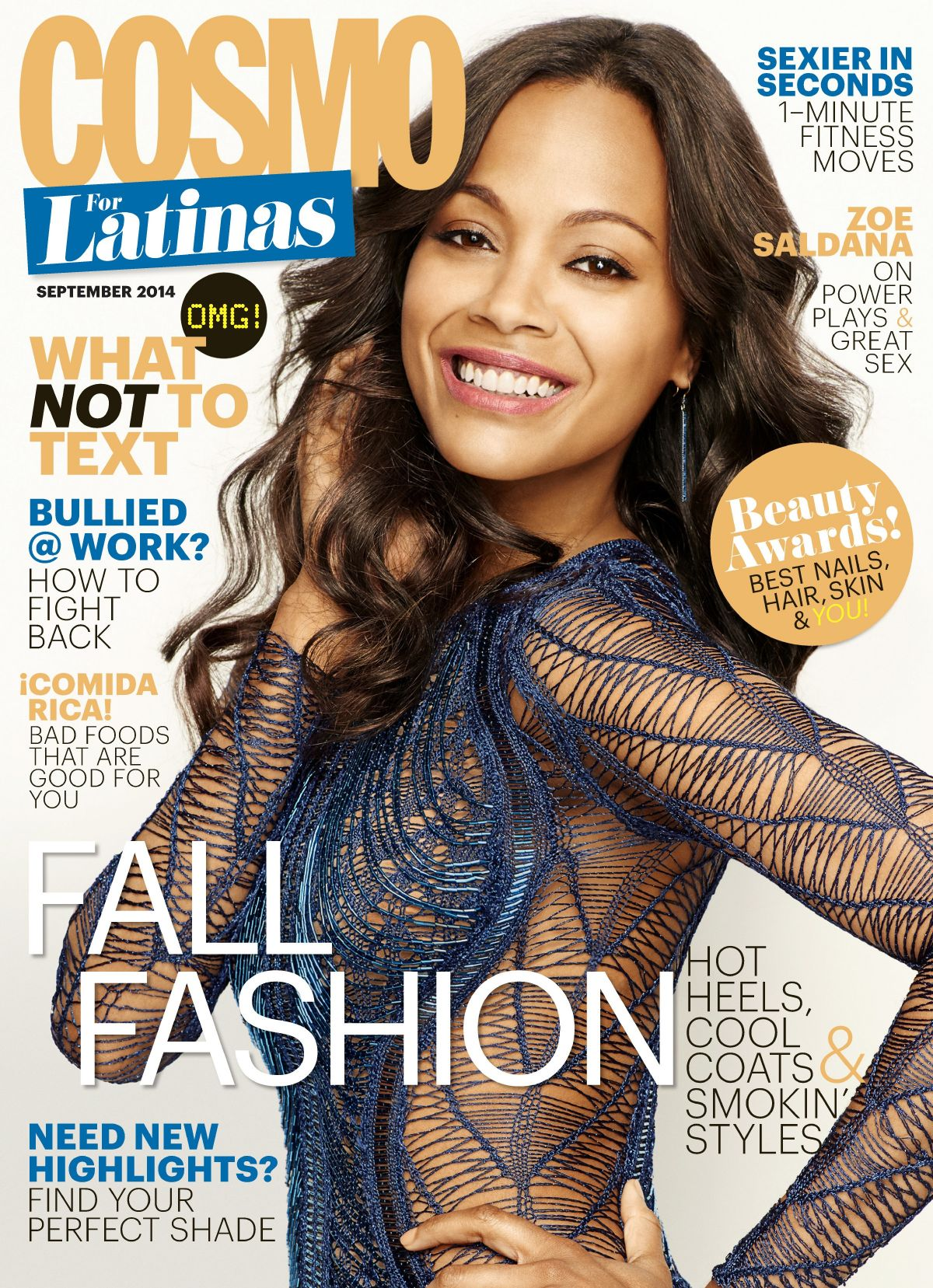ZOE SALDANA on the Cover of Cosmopolitan for Matinas Magazine, September 2014 Issue