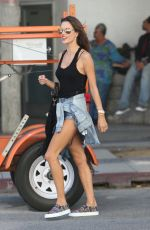 ALESSANDRA AMBROSIO in Denim Shorts Out in Beverly Hills 2609