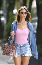 ALEXA CHUNG in Denim Shorts Out in New York