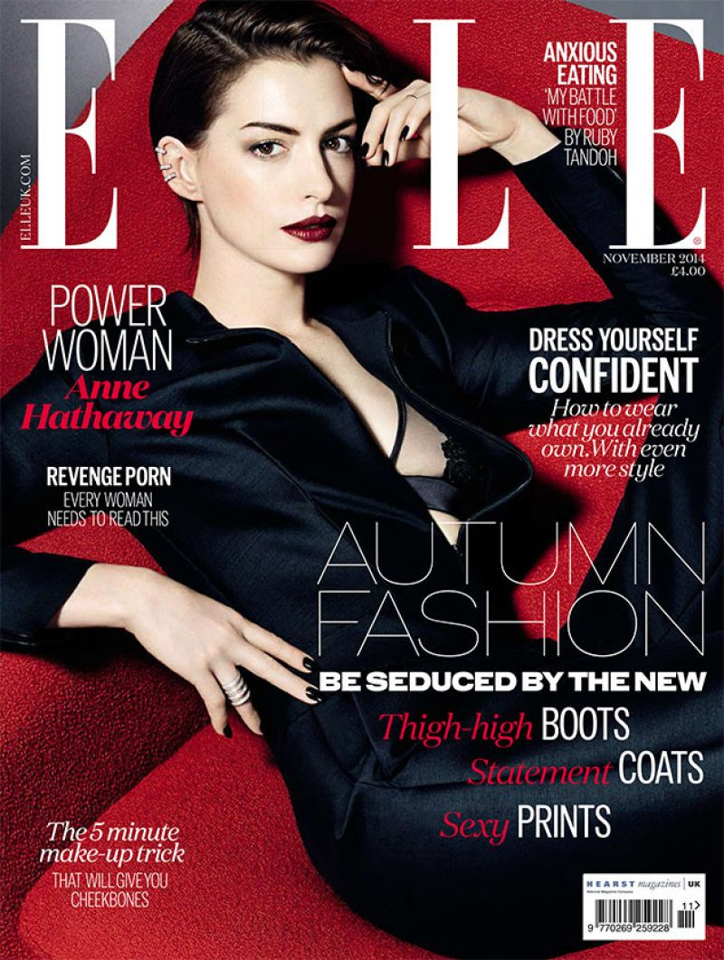 ANNE HATHAWAY in Elle Magazine, November 2014 Issue