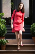 ANNE HATHAWAY in Red Dress on the Set of The Intern in New York