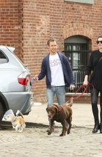 ANNE HATHAWAY Walks Her Dogs Out in New York