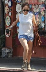 BRENDA SONG in Denim Shorts Out and About in Studio City